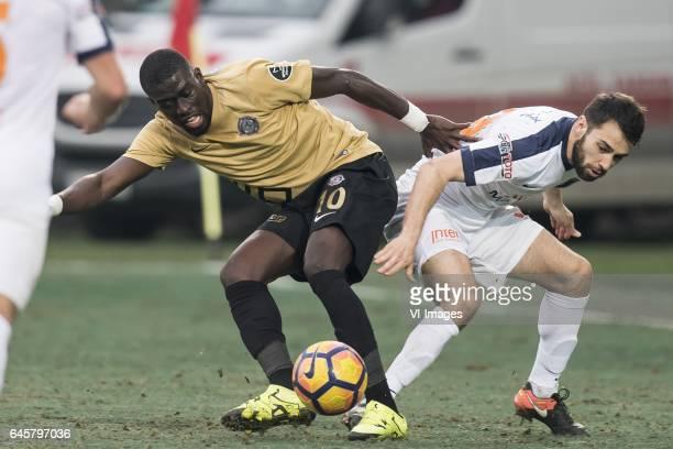 Badou Ndiaye of Osmanlispor Futbol Kulubu Mustafa Pektemek of Istanbul Medipol Basaksehir FKduring the Turkish Spor Toto Super Lig football match...