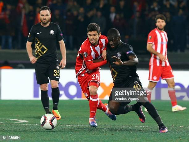 Badou Ndiaye of Osmanlispor in action during the UEFA Europa League final 32 soccer match between Osmanlispor and Olympiacos FC at the Osmanli...
