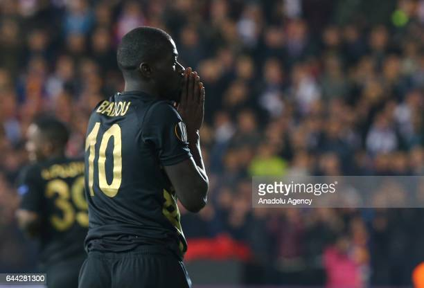Badou Ndiaye of Osmanlispor reacts after they loose the UEFA Europa League final 32 soccer match between Osmanlispor and Olympiacos FC at the Osmanli...