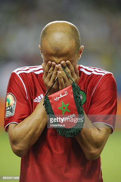 Badr El Kaddouri Morocco preys before the 2012 African Cup of Nations Group C match between Gabon and Morocco at the Stade de l'Amitie in Libreville...