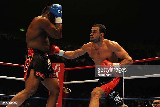Badr Hari and Errol Gimmerman compete in the semi final of the K1 World GP 2008 Final at the Yokohama Arena on December 6 2008 in Yokohama Kanagawa...
