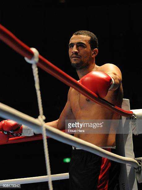Badr Hari is seen on a corner after receiving an yellow card in the final against Remy Bonjasky during the K1 World GP 2008 Final at the Yokohama...