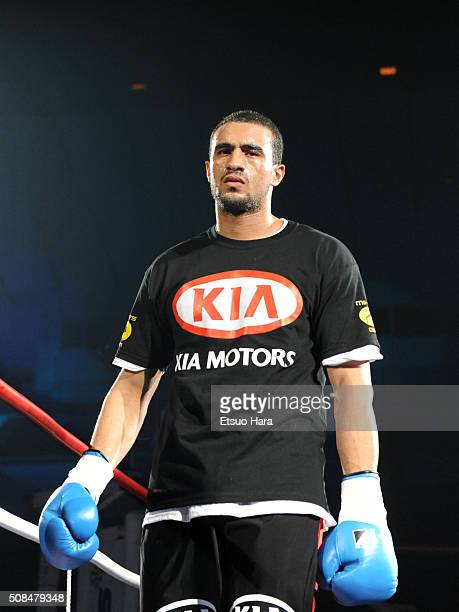 Badr Hari is seen prior to compete against Peter Aerts in the quarter final of the K1 World GP 2008 Final at the Yokohama Arena on December 6 2008 in...