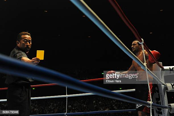 Badr Hari receives an yellow card by referee Nobuaki Kakuda after fouling Remy Bonjasky in the final of the K1 World GP 2008 Final at the Yokohama...
