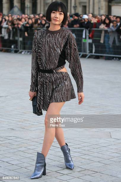 Bae Doona arrives at the Louis Vuitton show as part of the Paris Fashion Week Womenswear Fall/Winter 2017/2018 on March 7 2017 in Paris France