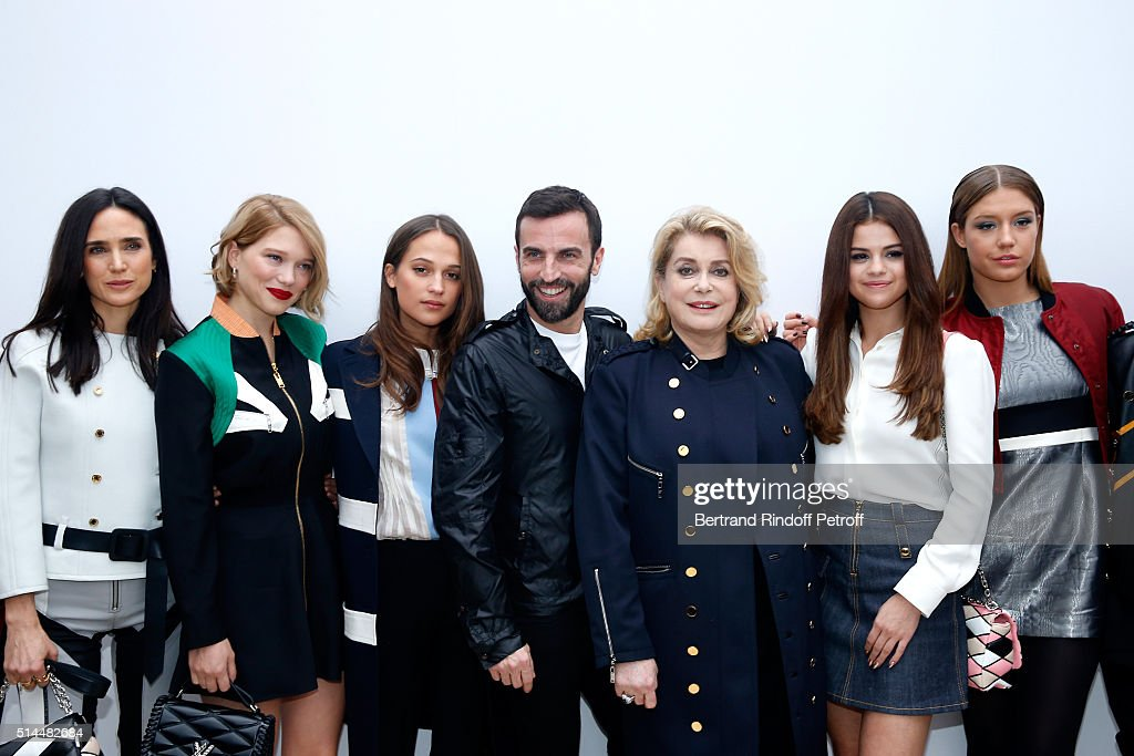 Bae Doona, <a gi-track='captionPersonalityLinkClicked' href=/galleries/search?phrase=Jennifer+Connelly&family=editorial&specificpeople=201581 ng-click='$event.stopPropagation()'>Jennifer Connelly</a>, Lea Seydoux, <a gi-track='captionPersonalityLinkClicked' href=/galleries/search?phrase=Alicia+Vikander&family=editorial&specificpeople=7246025 ng-click='$event.stopPropagation()'>Alicia Vikander</a>, Stylist Nicolas Ghesquiere, <a gi-track='captionPersonalityLinkClicked' href=/galleries/search?phrase=Catherine+Deneuve&family=editorial&specificpeople=123833 ng-click='$event.stopPropagation()'>Catherine Deneuve</a>, <a gi-track='captionPersonalityLinkClicked' href=/galleries/search?phrase=Selena+Gomez&family=editorial&specificpeople=4295969 ng-click='$event.stopPropagation()'>Selena Gomez</a> and Adele Exarchopoulos pose backstage after the Louis Vuitton show as part of the Paris Fashion Week Womenswear Fall/Winter 2016/2017. Held at Louis Vuitton Foundation on March 9, 2016 in Paris, France.
