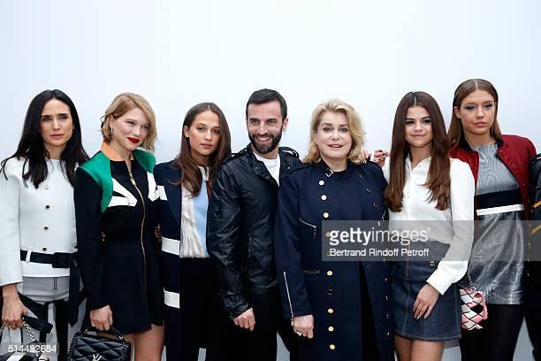 Bae Doona Jennifer Connelly Lea Seydoux Alicia Vikander Stylist Nicolas Ghesquiere Catherine Deneuve Selena Gomez and Adele Exarchopoulos pose...