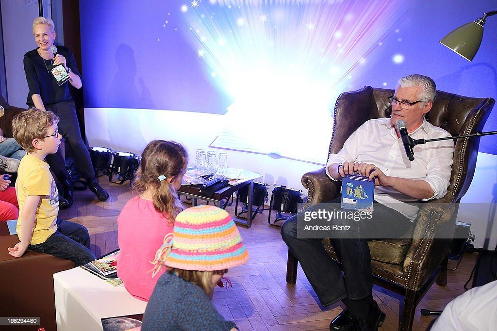 Baerbel Schaefer and Sky du Mont attends McDonald's Reading Event at McDonalds Kurfuersten Damm on May 8, 2013 in Berlin, Germany.