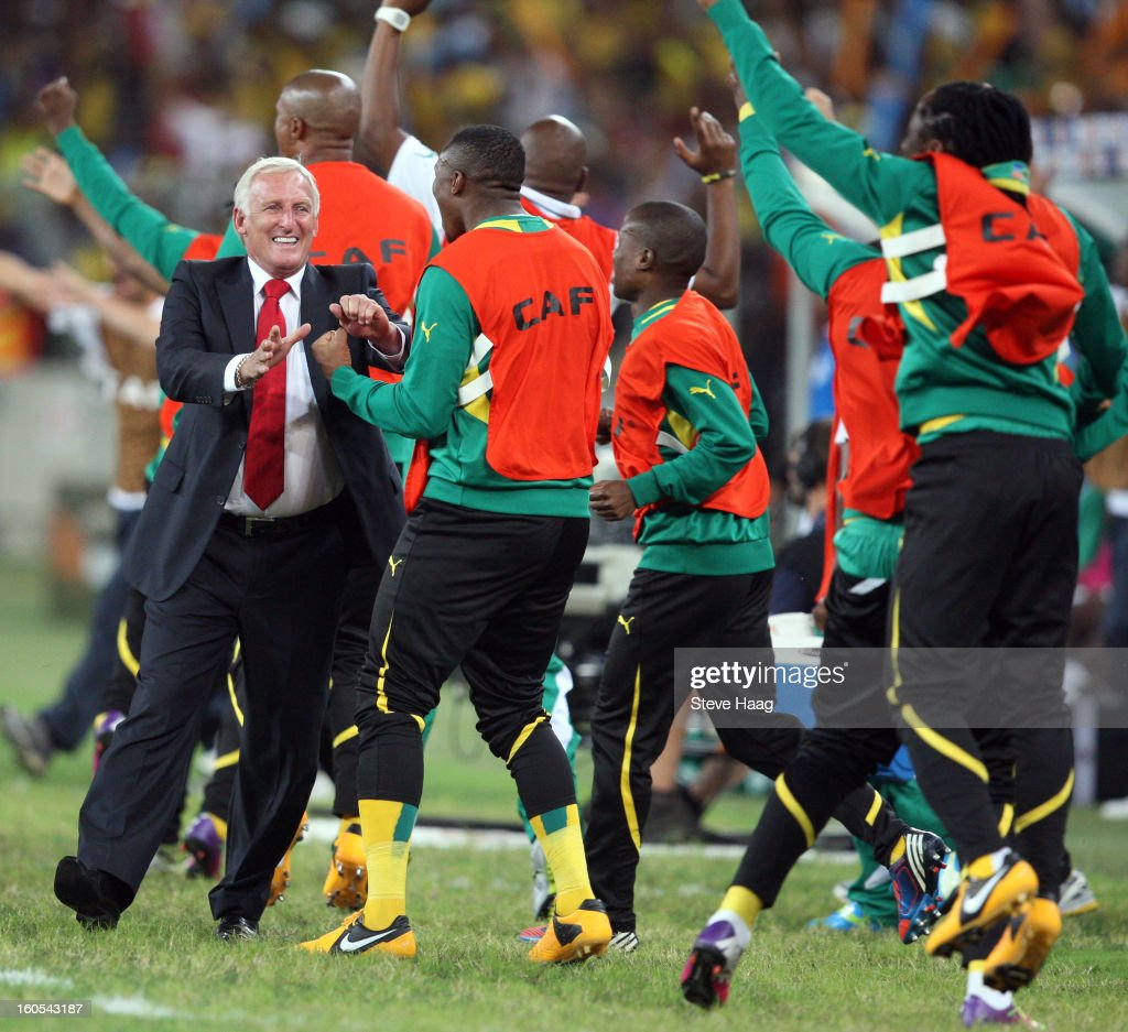 Bafana Bafana coach Gordon Igesund celebrates the opening goal during the 2013 African Cup of Nations Quarter-Final match between South Africa and Mali at Moses Mahbida Stadium on February 02, 2013 in Durban, South Africa.