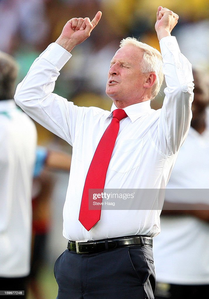 Bafana Bafana coach Gordon Igesund during the 2013 African Cup of Nations match between South Africa and Angola at Moses Mahbida Stadium on January 23, 2013 in Durban, South Africa.