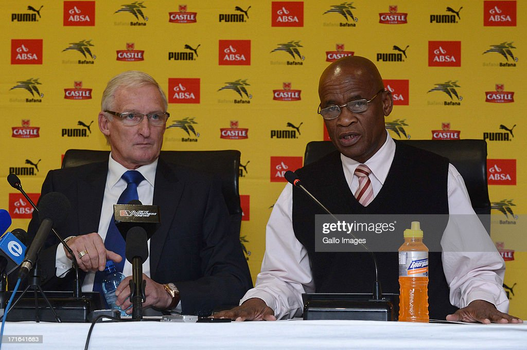 Bafana Bafana head coach <a gi-track='captionPersonalityLinkClicked' href=/galleries/search?phrase=Gordon+Igesund&family=editorial&specificpeople=3647587 ng-click='$event.stopPropagation()'>Gordon Igesund</a> (L) and team manager Barney Kujane attend the Bafana Bafana press conference at SAFA House on June 27, 2013 in Johannesburg, South Africa.