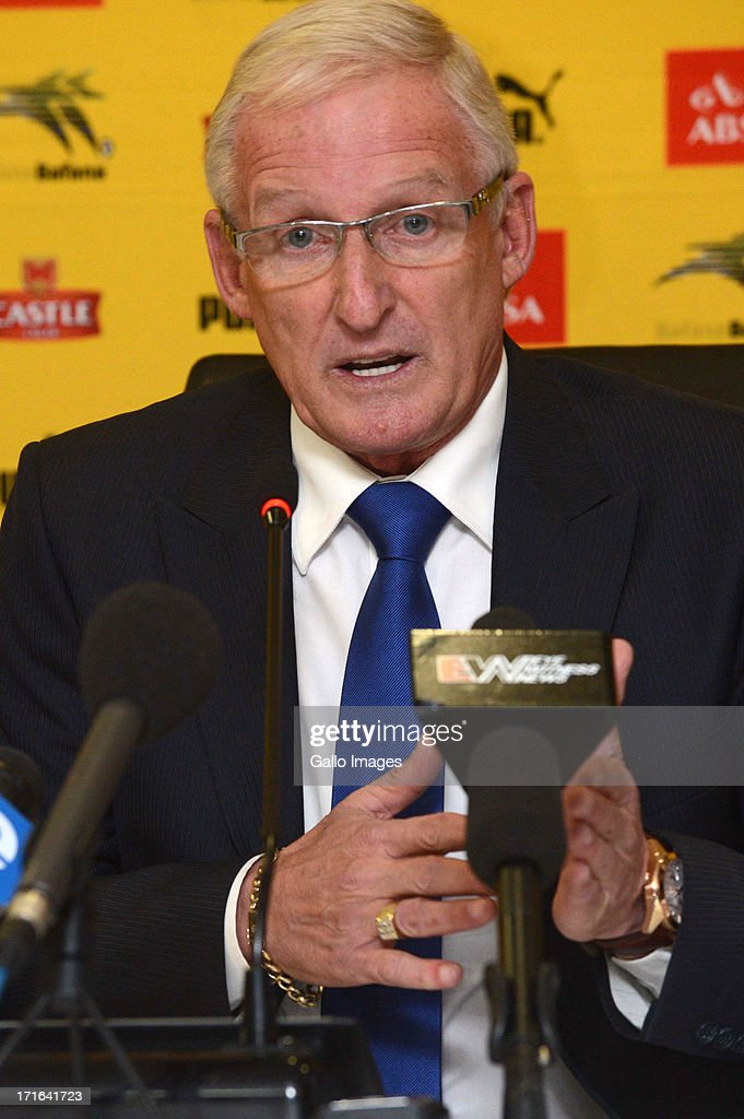 Bafana Bafana head coach <a gi-track='captionPersonalityLinkClicked' href=/galleries/search?phrase=Gordon+Igesund&family=editorial&specificpeople=3647587 ng-click='$event.stopPropagation()'>Gordon Igesund</a> attends the Bafana Bafana press conference at SAFA House on June 27, 2013 in Johannesburg, South Africa.