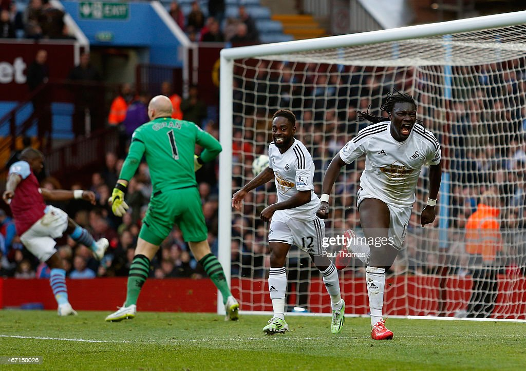 Bafetibis Gomis of Swansea City celebrates scoring the winning goal during the Barclays Premier League match between Aston Villa and Swansea City at Villa Park on March 21, 2015 in Birmingham, England.