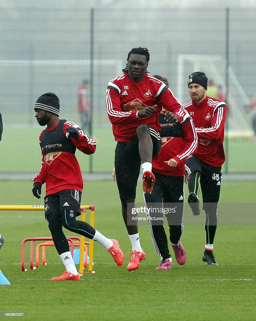 Bafetimbi Gomis during the Swansea City training session at Fairwood Training Ground on March 12, 2015 in Swansea, Wales.