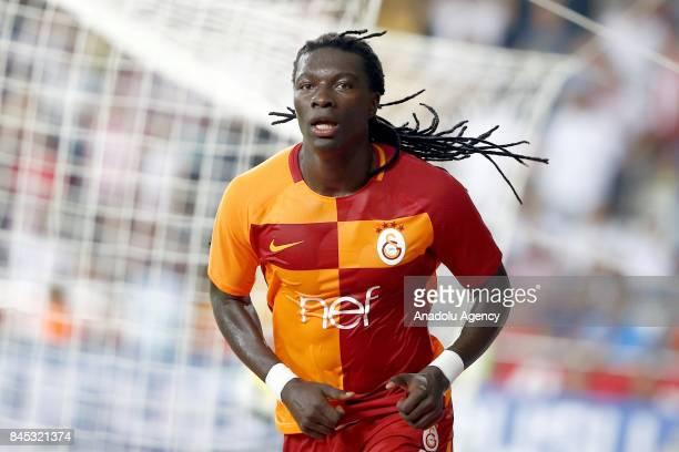 Bafetimbi Gomis of Galatasaray celebrates after scoring a goal during the Turkish Super Lig match between Antalyaspor and Galatasaray at Antalya...