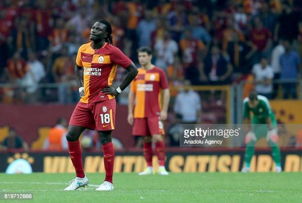 Bafetimbi Gomis of Galatasaray gets upset after the penalty goal of Ostersunds during the UEFA Europa League second qualifying round return match...