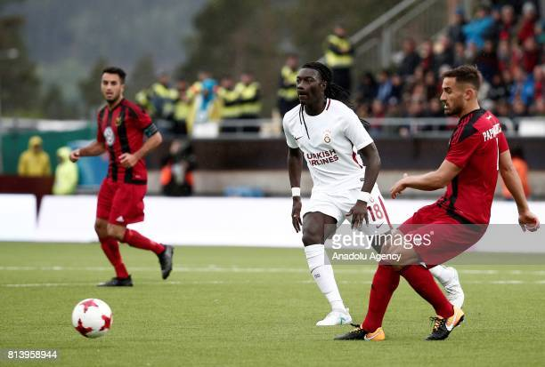 Bafetimbi Gomis of Galatasaray in action against Sotirios Papagiannopoulosi during the UEFA Europa League 2nd Qualifying Round soccer match between...