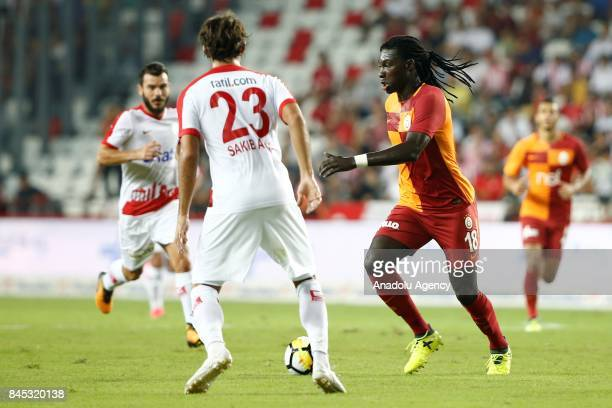 Bafetimbi Gomis of Galatasaray in action during the Turkish Super Lig match between Antalyaspor and Galatasaray at Antalya Stadium in Antalya Turkey...