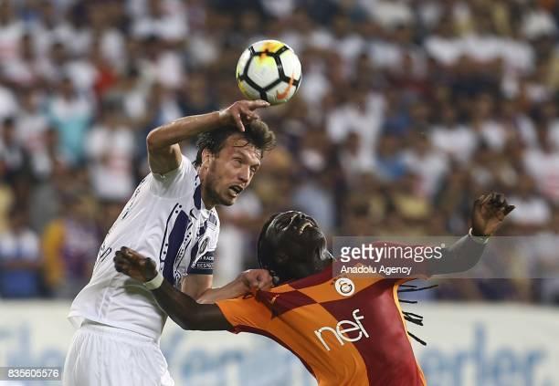 Bafetimbi Gomis of Galatasaray in action during Turkish Super Lig soccer match between Osmanlispor and Galatasaray at the Osmanli Stadium in Ankara...