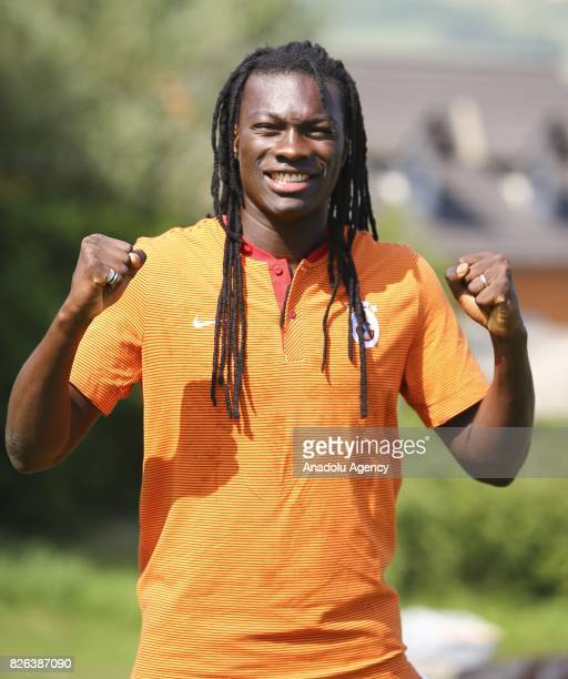 Bafetimbi Gomis of Galatasaray poses after a press conference as the training camp of Galatasaray continues in Graz Austria on July 30 2017
