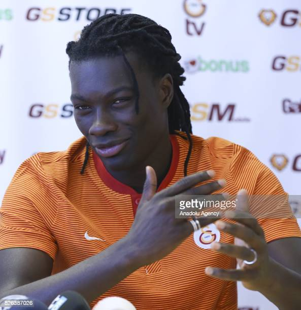 Bafetimbi Gomis of Galatasaray speaks during a press conference as the training camp of Galatasaray continues in Graz Austria on July 30 2017