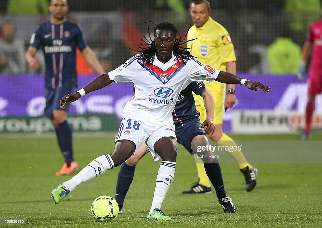 Bafetimbi Gomis of Lyon in action during the Ligue 1 match between Olympique Lyonnais, OL, and Paris Saint-Germain FC, PSG, at the Stade Gerland on May 12, 2013 in Lyon, France.