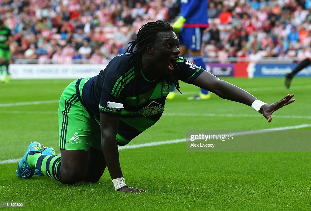 <a gi-track='captionPersonalityLinkClicked' href=/galleries/search?phrase=Bafetimbi+Gomis&family=editorial&specificpeople=686005 ng-click='$event.stopPropagation()'>Bafetimbi Gomis</a> of Swansea City celebrates scoring his team's first goal during the Barclays Premier League match between Sunderland and Swansea City at the Stadium of Light on August 22, 2015 in Sunderland, England.