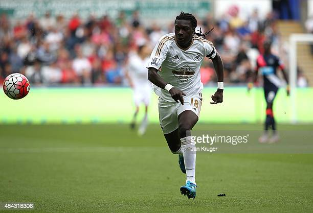 Bafetimbi Gomis of Swansea City during the Barclays Premier League match between Swansea City and Newcastle United at Liberty Stadium on August 15...