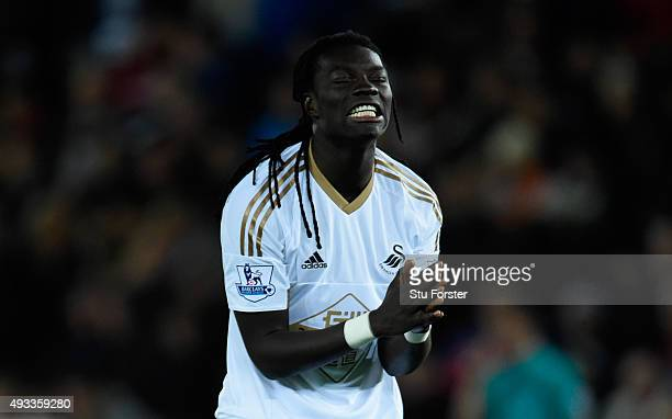 Bafetimbi Gomis of Swansea City reacts after a missed chance during the Barclays Premier League match between Swansea City and Stoke City at Liberty...