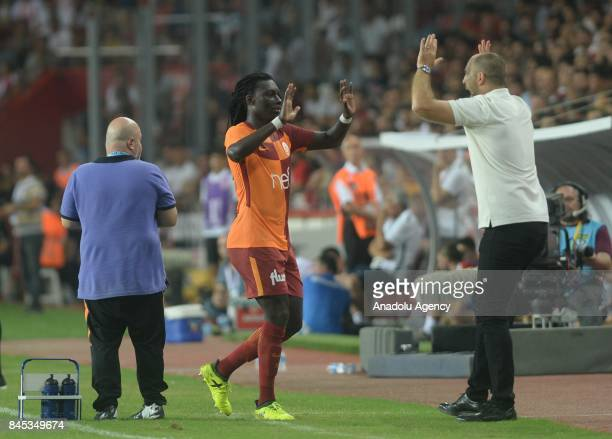Bafétimbi Gomis of Galatasaray celebrates after scoring a goal with Head coach of Galatasaray Igor Tudor during the 4th week of the Turkish Super Lig...