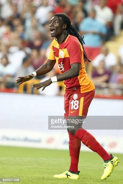 Bafétimbi Gomis of Galatasaray gestures during the 4th week of the Turkish Super Lig match between Antalyaspor and Galatasaray at the Antalya Stadium...