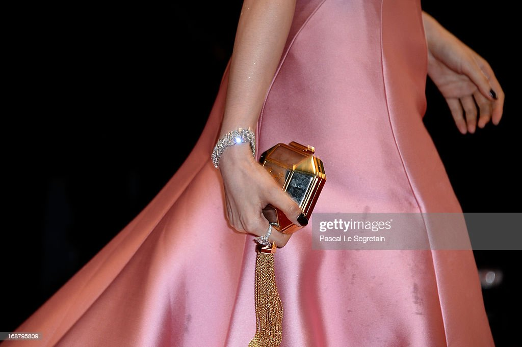 Bag and jewelry are seen as Fan Bing Bing attends the Opening Ceremony and 'The Great Gatsby' Premiere during the 66th Annual Cannes Film Festival at the Theatre Lumiere on May 15, 2013 in Cannes, France.