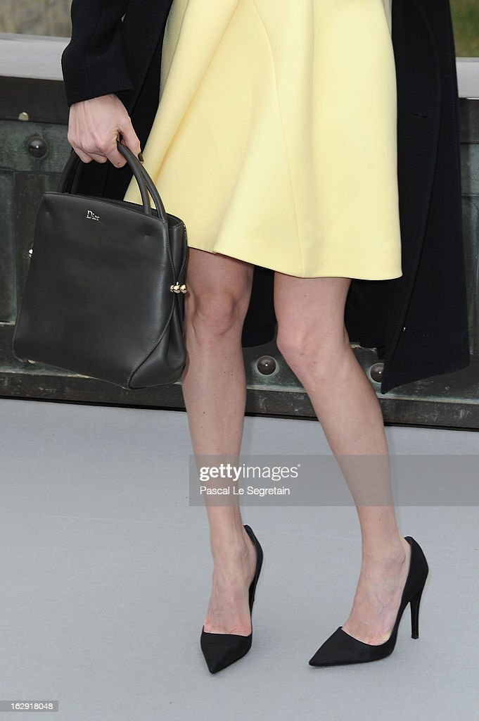 A bag and shoe detail of Marie-Josee Croze is seen as she arrives to attend the Christian Dior Fall/Winter 2013 Ready-to-Wear show as part of Paris Fashion Week on March 1, 2013 in Paris, France.