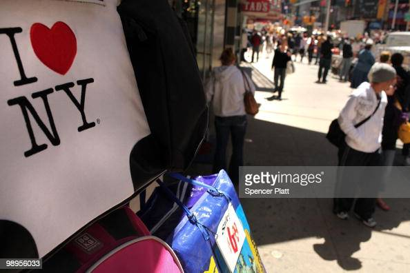 A bag bearing the 'I Love New York' logo is displayed at a store in Times Square on May 10 2010 in New York City As a result of a $92 billion budget...