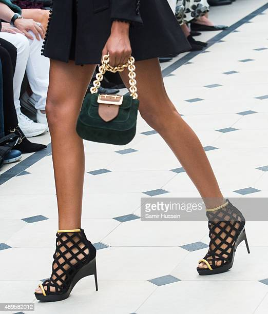 Bag detail as a model walks the runway at the Burberry Prorsum show during London Fashion Week Spring/Summer 2016 on September 21 2015 in London...