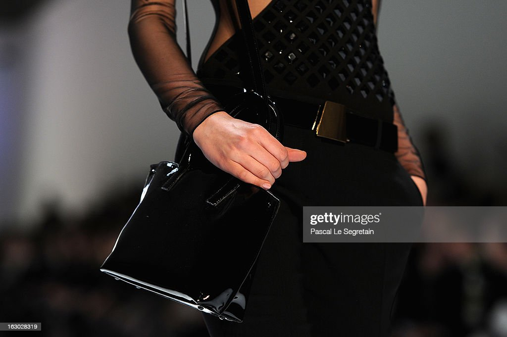 A bag detail is seen as a model walks the runway during Akris Fall/Winter 2013 Ready-to-Wear show as part of Paris Fashion Week on March 3, 2013 in Paris, France.
