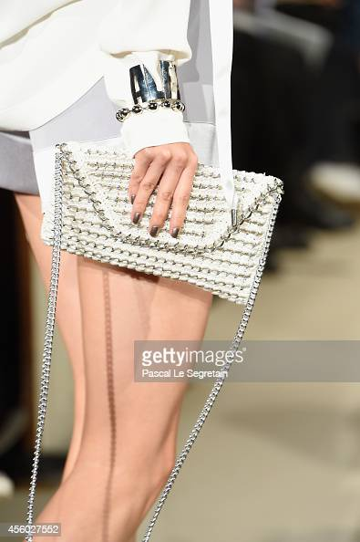 A bag detail is seen as a model walks the runway during the Alexis Mabille show as part of the Paris Fashion Week Womenswear Spring/Summer 2015 on...