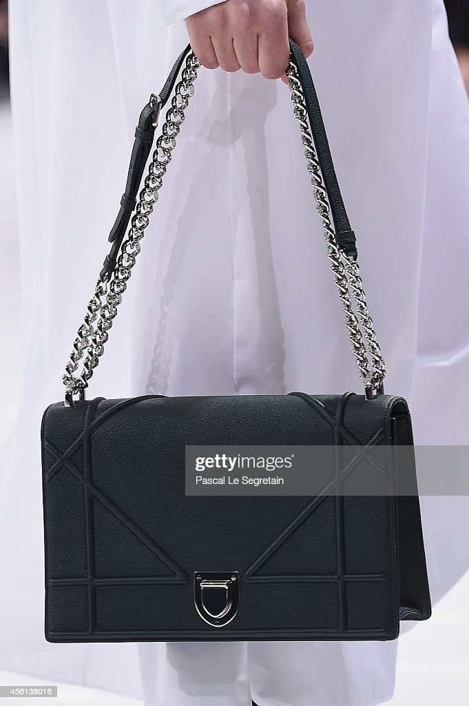 A bag detail is seen as a model walks the runway during the Christian Dior show as part of the Paris Fashion Week Womenswear Spring/Summer 2015 on...