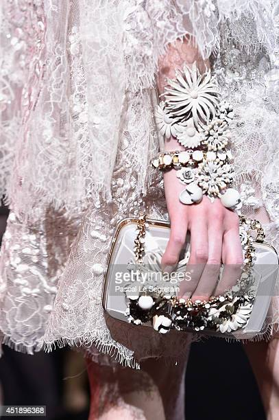 A bag detail is seen as a model walks the runway during the Elie Saab show as part of Paris Fashion Week Haute Couture Fall/Winter 20142015 at...