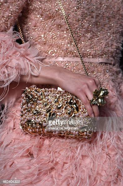 A bag detail is seen as a model walks the runway during the Elie Saab show as part of Paris Fashion Week Haute Couture Spring/Summer 2015 on January...