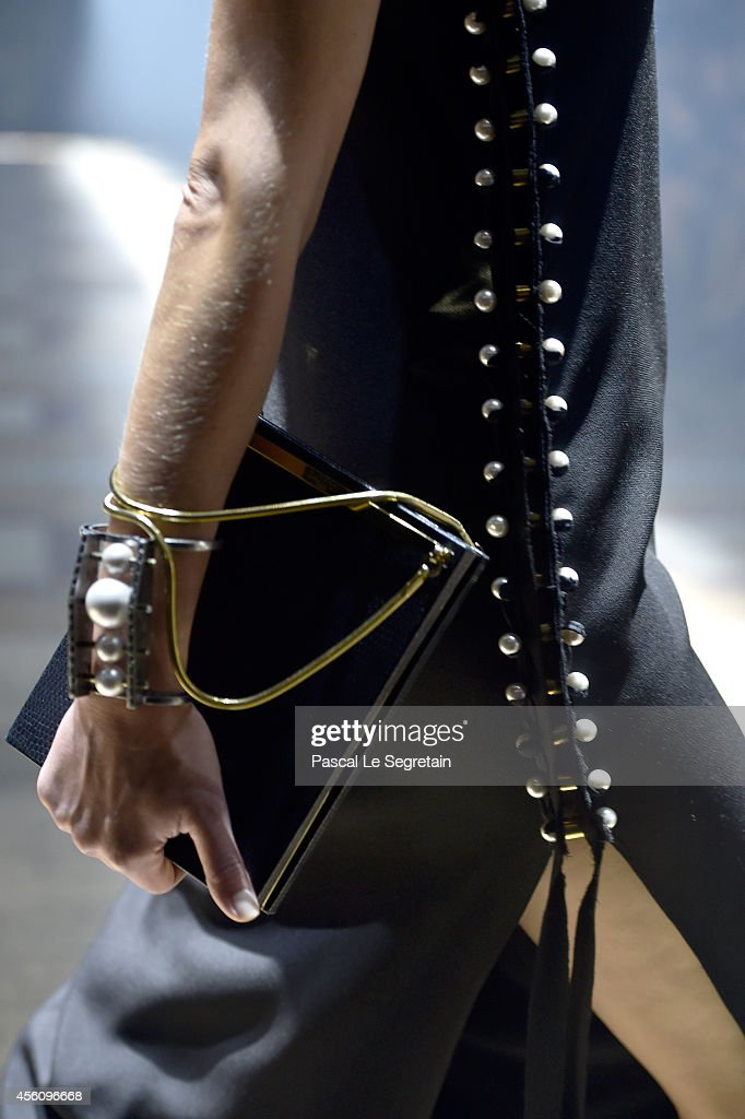 A bag detail is seen as a model walks the runway during the Lanvin show as part of the Paris Fashion Week Womenswear Spring/Summer 2015 on September...