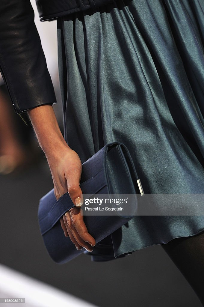 A bag detail is seen as a model walks the runway during the Maxime Simoens Fall/Winter 2013 Ready-to-Wear show as part of Paris Fashion Week on March 3, 2013 in Paris, France.