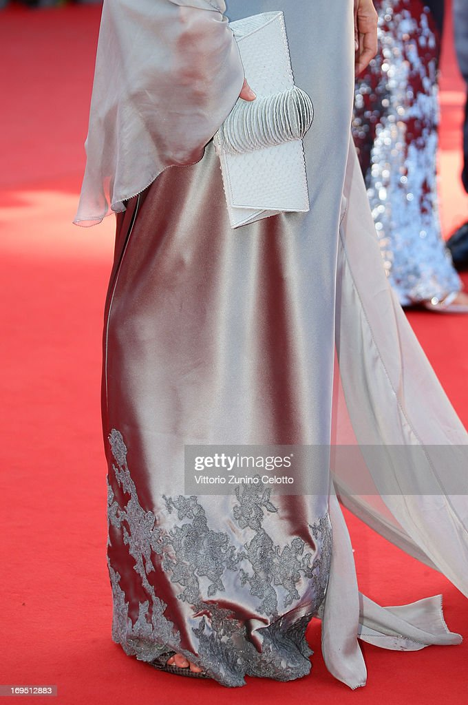 A bag detail is seen as actress Asia Argento attends the 'Zulu' Premiere and Closing Ceremony during the 66th Annual Cannes Film Festival at the Palais des Festivals on May 26, 2013 in Cannes, France.