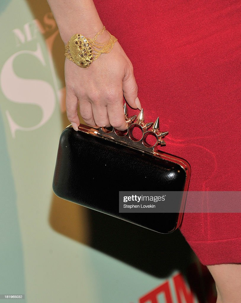 Bag detail of actress/TV personality <a gi-track='captionPersonalityLinkClicked' href=/galleries/search?phrase=Carrie+Keagan&family=editorial&specificpeople=2247557 ng-click='$event.stopPropagation()'>Carrie Keagan</a> as she attends The 'Masters Of Sex' New York Series Premiere at The Morgan Library & Museum on September 26, 2013 in New York City.