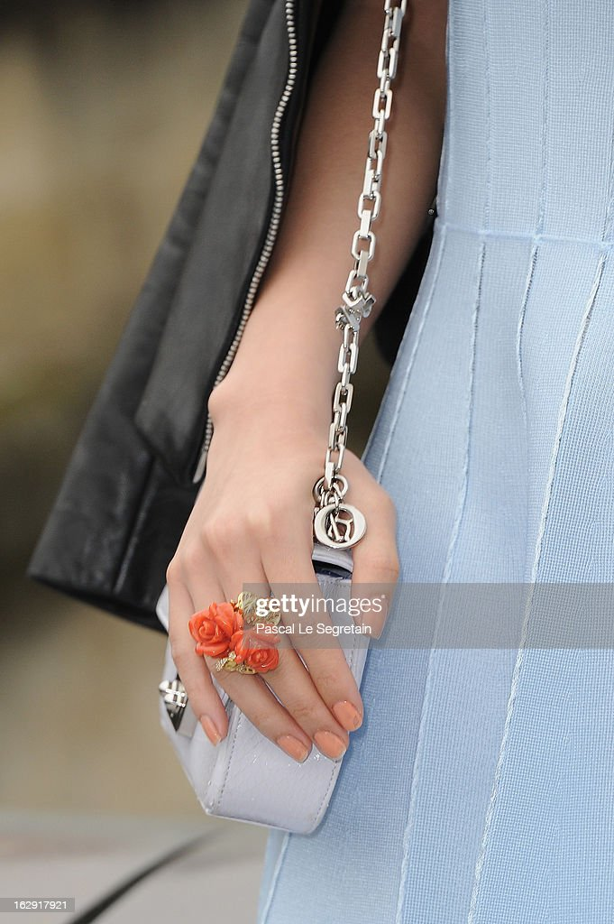 A bag detail of Angela Wing Yeung is seen as she arrives to attend the Christian Dior Fall/Winter 2013 Ready-to-Wear show as part of Paris Fashion Week on March 1, 2013 in Paris, France.