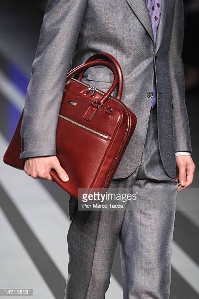 A bag detail on the runway during the Canali show as part of Milan Fashion Week Menswear Spring/Summer 2013 on June 25 2012 in Milan Italy