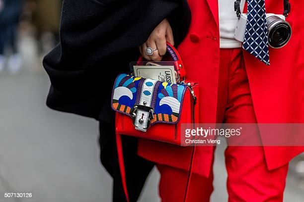 A bag detail outside Jean Paul Gaultier during the Paris Fashion Week Haute Couture Spring/Summer 2016 on January 27 2016 in Paris France