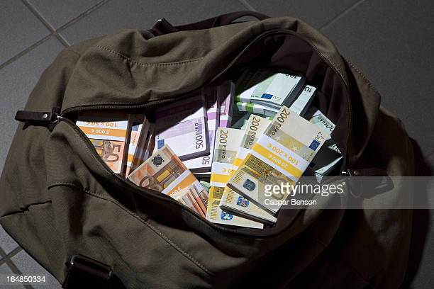 A bag full of large billed Euro banknotes