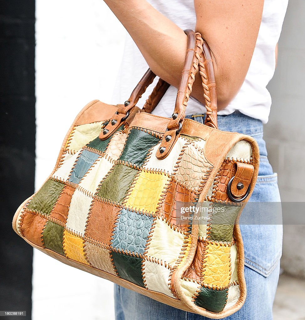 A bag is seen (Balenciaga Tote bag patchwork) outside the Rodarte show on September 10, 2013 in New York City.