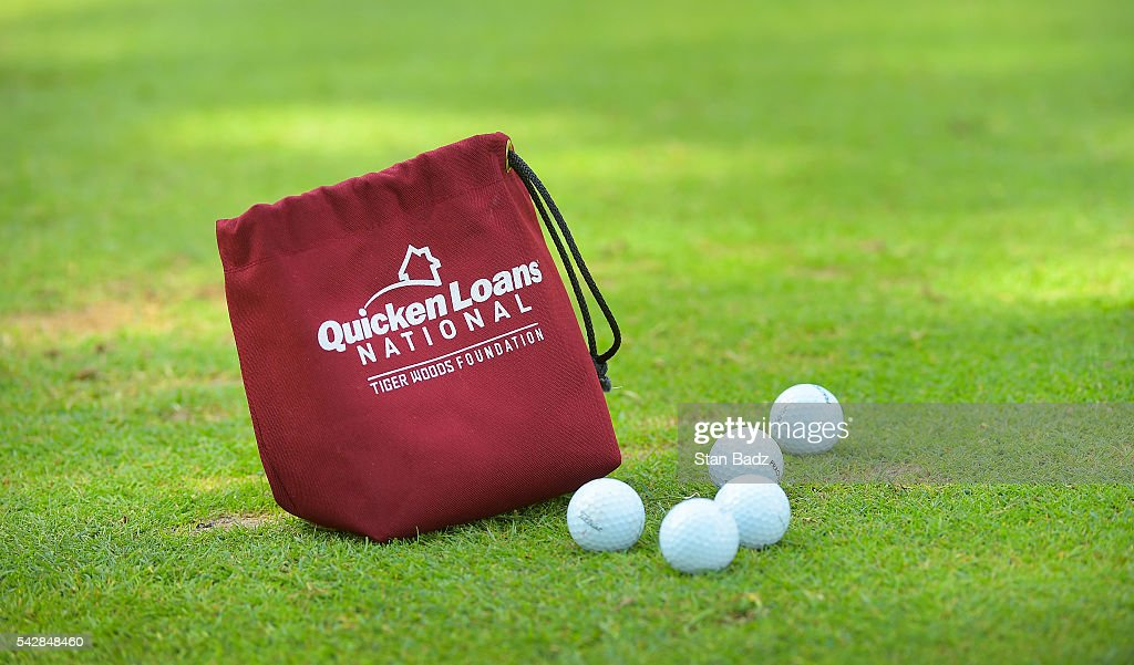 A bag of balls are left behind on the practice range during the second round of the Quicken Loans National at Congressional Country Club (Blue) on June 24, 2016 in Bethesda, Maryland.
